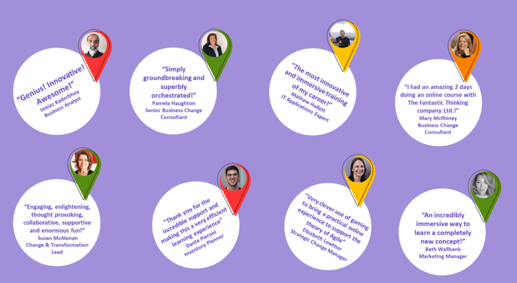 A graphic with testimonials from our clients